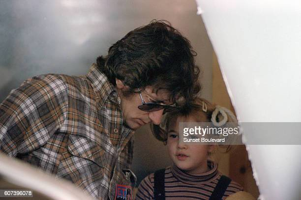 Steven Spielberg and Drew Barrymore on the set of ET