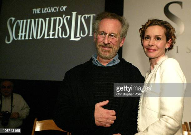 Steven Spielberg and Embeth Davidtz during Schindler's List DVD Release in Conjunction with the Shoah Visual History Foundation at Shoah Visual...