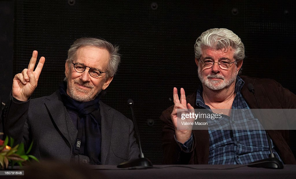 Steven Spielberg and George Lucas attend the Dedication of The Sumner M. Redstone Production Building at USC on February 5, 2013 in Los Angeles, California.