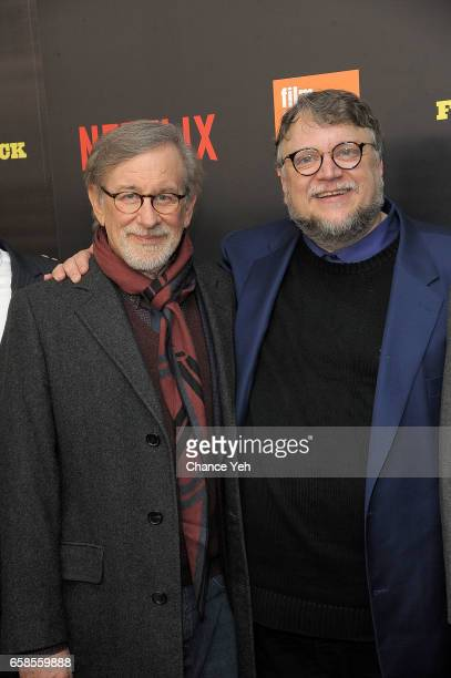 Steven Spielberg and Guillermo del Toro attend Five Came Back world premiere at Alice Tully Hall at Lincoln Center on March 27 2017 in New York City