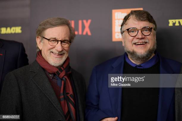 Steven Spielberg and Guillermo del Toro attend the 'Five Came Back' world premiere at Alice Tully Hall at Lincoln Center on March 27 2017 in New York...