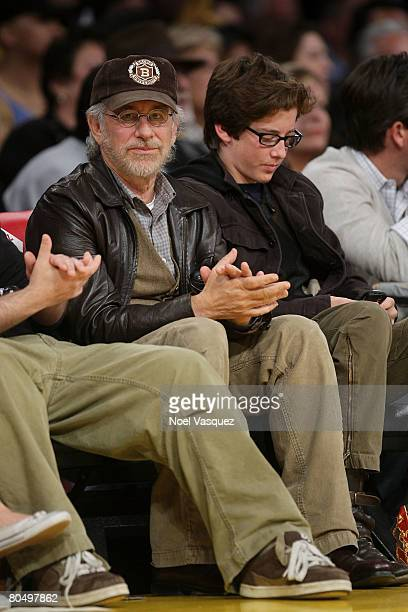 Steven Spielberg and his son Sawyer attend the Los Angeles Lakers vs Portland Trailblazers game at the Staples Center on April 2 2008 in Los Angeles...