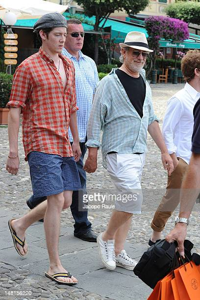 Steven Spielberg and his son Sawyer Spielberg sighted on July 11 2012 in Portofino Italy