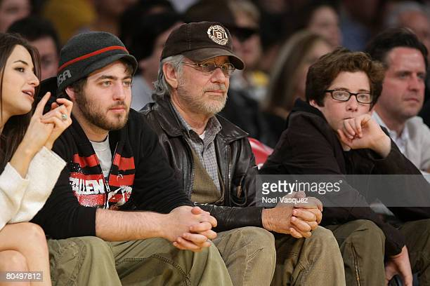 Steven Spielberg and his sons Sawyer and Max attend the Los Angeles Lakers vs Portland Trailblazers game at the Staples Center on April 2 2008 in Los...