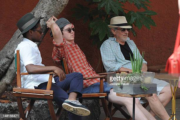 Steven Spielberg and his sons Theo Spielberg and Sawyer Spielberg sighted on July 11 2012 in Portofino Italy