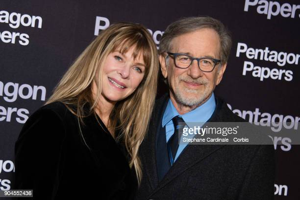 Steven Spielberg and his wife Kate Capshaw attend 'Pentagon Papers' Premiere at Cinema UGC Normandie on January 13 2018 in Paris France