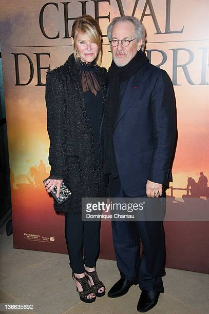 Steven Spielberg and his wife Kate Capshaw attend 'War Horse' Photocall at la cinematheque on January 9 2012 in Paris France