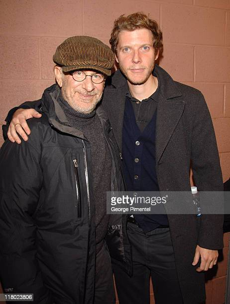 Steven Spielberg and Jake Paltrow during 2007 Sundance Film Festival 'The Good Night' Premiere QA at Eccles Theatre in Park City Utah United States