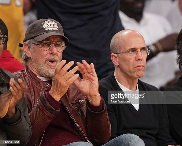 Steven Spielberg and Jeffrey Katzenberg attend the game between the New Orleans Hornets and the Los Angeles Lakers at Staples Center on April 26 2011...