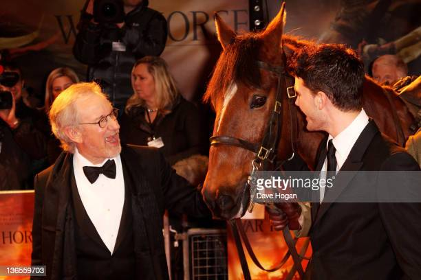 Steven Spielberg and Jeremy Irvine attend the UK premiere of War Horse at Odeon Leicester Square on January 8 2012 in London United Kingdom