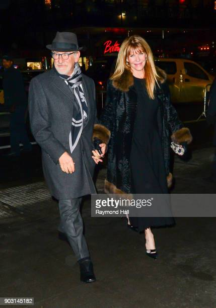 Steven Spielberg and Kate Capshaw are seen in Midtown on January 9 2018 in New York City