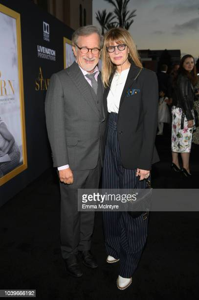 "Steven Spielberg and Kate Capshaw arrive on the red carpet at the Premiere Of Warner Bros. Pictures' ""A Star Is Born"" at The Shrine Auditorium on..."