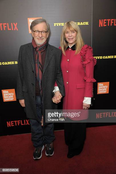 Steven Spielberg and Kate Capshaw attend Five Came Back world premiere at Alice Tully Hall at Lincoln Center on March 27 2017 in New York City