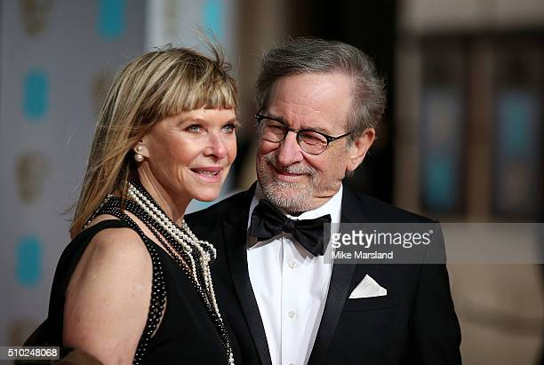 Steven Spielberg and Kate Capshaw attend the EE British Academy Film Awards at The Royal Opera House on February 14 2016 in London England