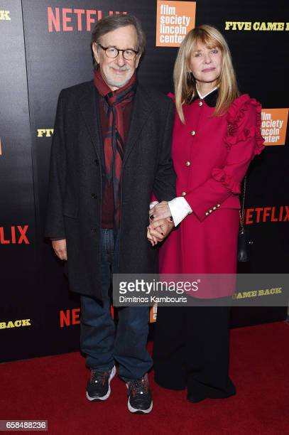 Steven Spielberg and Kate Capshaw attend the Five Came Back world premiere at Alice Tully Hall at Lincoln Center on March 27 2017 in New York City