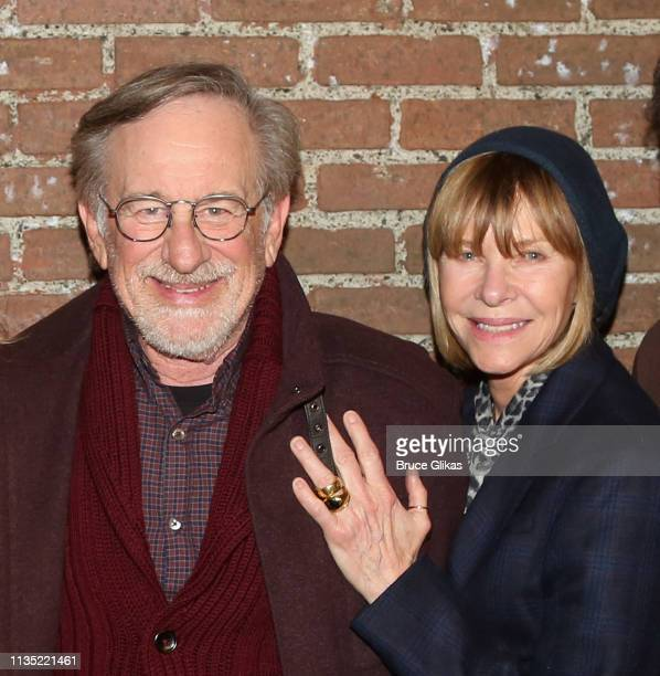 "Steven Spielberg and Kate Capshaw pose backstage at the hit play ""What The Constitution Means to Me"" on Broadway at The Helen Hayes Theater on April..."