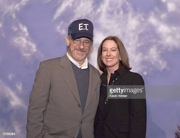 Steven Spielberg and Kathleen Kennedy at the 20th anniversary premiere of ET The ExtraTerrestrial at the Shrine Auditorium in Los Angeles Ca Saturday...