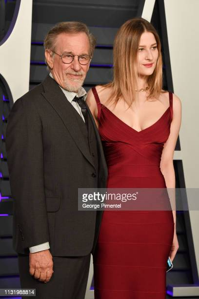 Steven Spielberg and Sasha Speilberg attend the 2019 Vanity Fair Oscar Party hosted by Radhika Jones at Wallis Annenberg Center for the Performing...