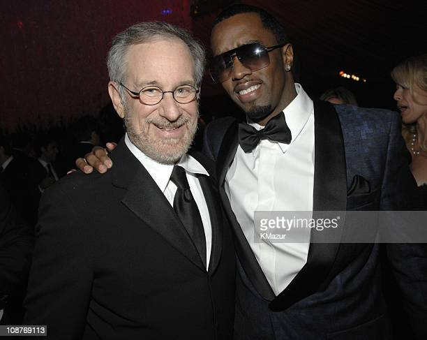 """Steven Spielberg and Sean """"Diddy"""" Combs during In Style and Warner Bros. 2007 Golden Globe After Party - Inside at Beverly Hilton Hotel in Beverly..."""