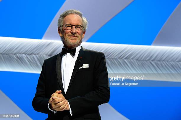 Steven Spielberg appears on stage during the Opening Ceremony of the 66th Annual Cannes Film Festival at the Palais des Festivals on May 15, 2013 in...