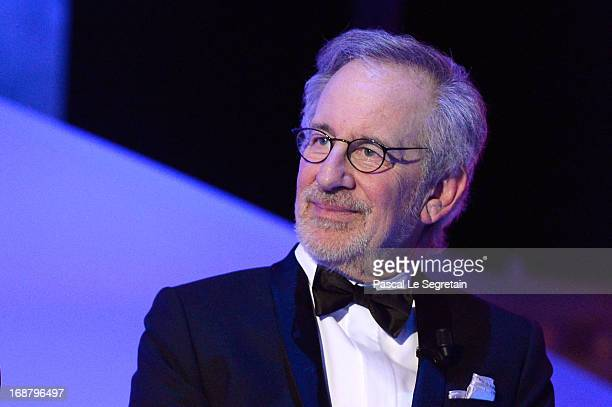 Steven Spielberg appears on stage during the Opening Ceremony of the 66th Annual Cannes Film Festival at the Palais des Festivals on May 15 2013 in...