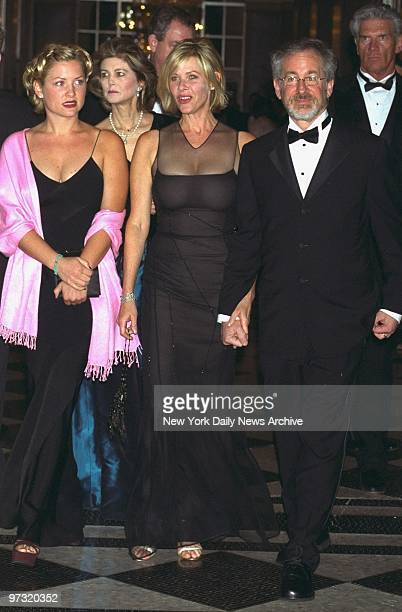 Steven Spielberg arrives with his wife, Kate Capshaw, and her daughter, Jessica, for the American Museum of the Moving Image tribute to Tom Hanks at...