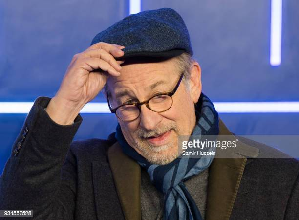 Steven Spielberg attends the European Premiere of 'Ready Player One' at Vue West End on March 19 2018 in London England