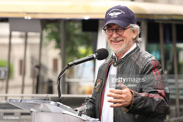 Steven Spielberg attends the reopening of the Universal Studios New York Street back lot at Universal Studios Hollywood on May 27 2010 in Universal...