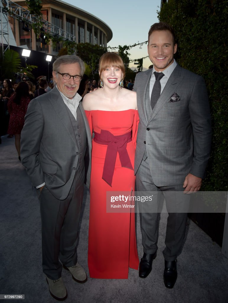 Steven Spielberg, Bryce Dallas Howard and Chris Pratt arrive at the premiere of Universal Pictures and Amblin Entertainment's 'Jurassic World: Fallen Kingdom' at the Walt Disney Concert Hall on June 12, 2018 in Los Angeles, California.