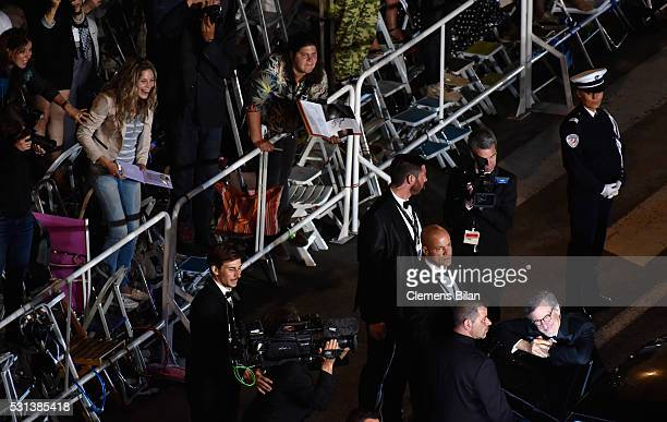 Steven Spielberg departs after the screening of The BFG during the 69th annual Cannes Film Festival at the Palais des Festivals on May 14 2016 in...