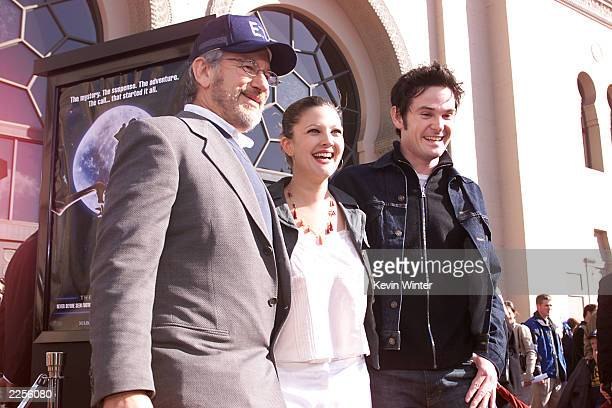 Steven Spielberg Drew Barrymore and Henry Thomas at the 20th anniversary premiere of ET The ExtraTerrestrial at the Shrine Auditorium in Los Angeles...