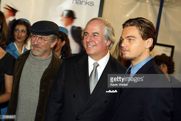Steven Spielberg Frank Abagnale and Leonardo DiCaprio at the premiere of Catch Me If You Can at the Village Theatre in Westwood Ca Monday Dec 16 2002...