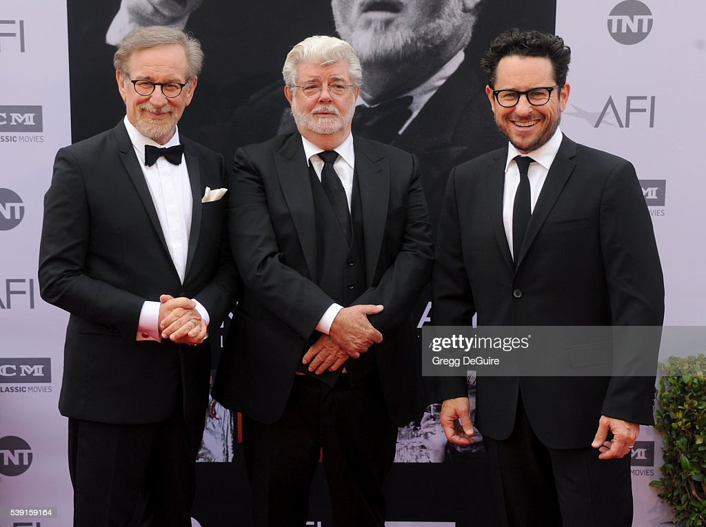 Directors Steven Spielberg and George Lucas attend