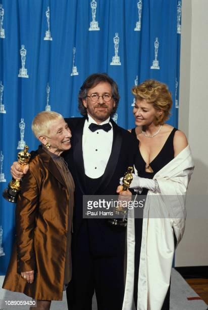 Steven Spielberg holding his Oscars is with his wife Kate Capshaw as his mother Leah Adler Schindler's List won seven awards including Best Picture...