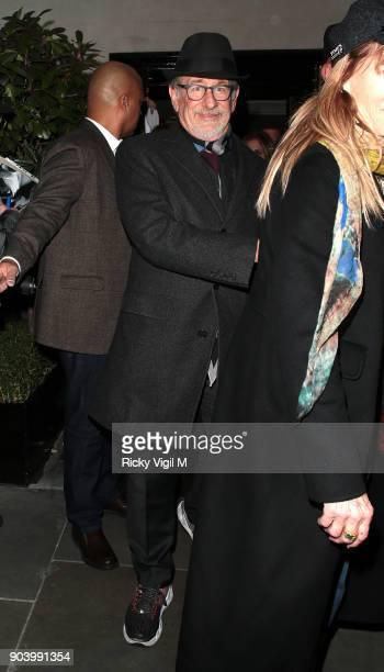 Steven Spielberg is seen at Scott's restaurant in Mayfair on January 11 2018 in London England