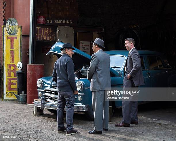 Steven Spielberg is seen on location in Dumbo directing Cold War thriller 'St James Place' on September 14 2014 in Brooklyn borough of New York City