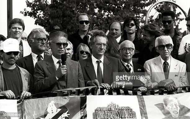 Steven Spielberg, Jay Stein, Sidney Sheinberg, Walter Lantz, and Lew Wasserman