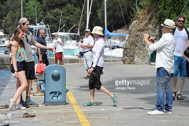 Steven Spielberg Kate Capshaw and Sawyer Spielberg are seen on July 12 2012 in Portofino Italy