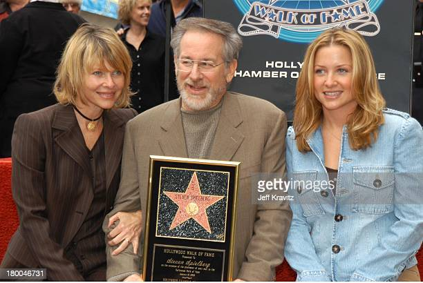 Steven Spielberg, Kate & Jessica Capshaw during Spielberg Receives Star on Walk of Fame at Hollywood in Hollywood, CA, United States.
