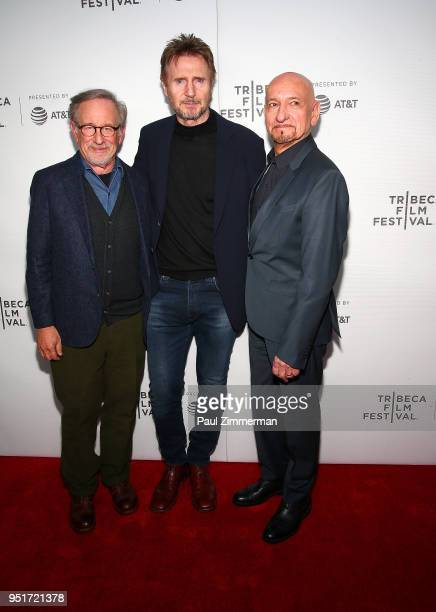 Steven Spielberg Liam Neeson and Sir Ben Kingsley attend the 2018 Tribeca Film Festival Schindler's List Reunion at Beacon Theatre on April 26 2018...