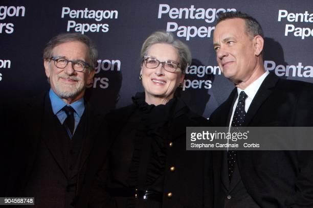 Steven Spielberg Meryl Streep and Tom Hanks attend 'Pentagon Papers' Premiere at Cinema UGC Normandie on January 13 2018 in Paris France