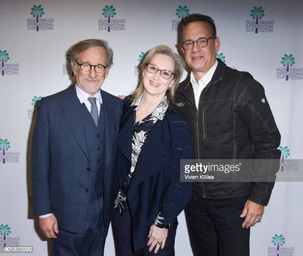 Steven Spielberg Meryl Streep and Tom Hanks attend the 29th Annual Palm Springs International Film Festival Opening Night Screening of 'The Post' at...