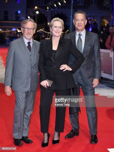 Steven Spielberg Meryl Streep and Tom Hanks attend the European Premiere of 'The Post' at Odeon Leicester Square on January 10 2018 in London England
