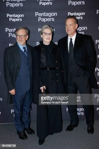 Steven Spielberg Meryl Streep and Tom Hanks attend the 'Pentagon Papers' Paris Premiere at Cinema UGC Normandie on January 13 2018 in Paris France