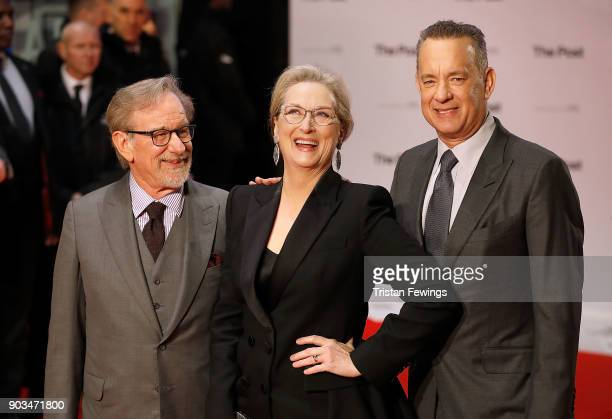 Steven Spielberg Meryl Streep and Tom Hanks attend 'The Post' European Premeire at Odeon Leicester Square on January 10 2018 in London England