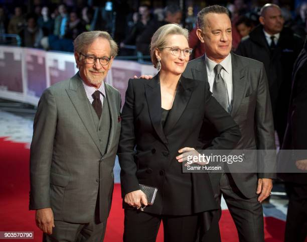 Steven Spielberg Meryl Streep and Tom Hanks attends 'The Post' European Premeire at Odeon Leicester Square on January 10 2018 in London England