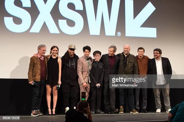 Steven Spielberg Olivia Cook Lena Waithe Win Morisaki Philip Zhao Ben Mendelsohn Zak Penn Tye Sheridan and Ernest Cline attend 'Ready Player One'...