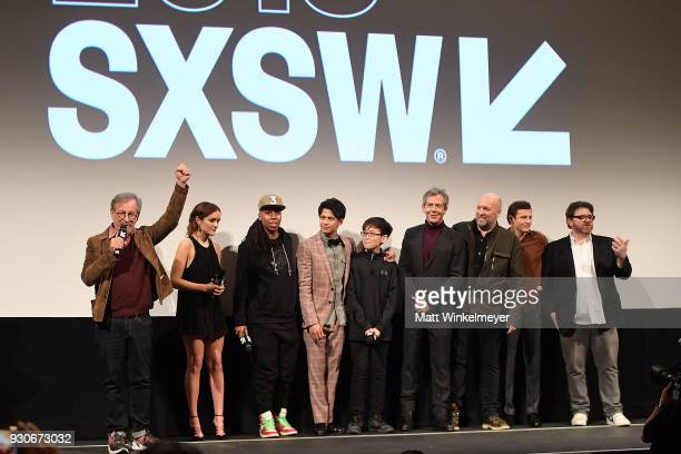 "Steven Spielberg, Olivia Cook, Lena Waithe Win Morisaki, Philip Zhao, Ben Mendelsohn, Zak Penn, Tye Sheridan, and Ernest Cline attend ""Ready Player..."