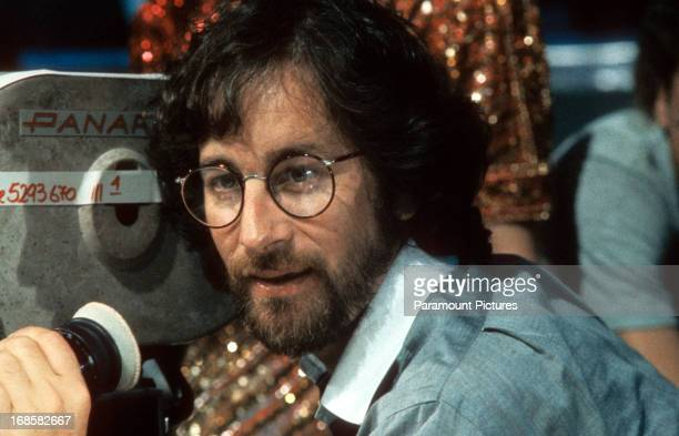 Steven Spielberg on set of the film 'Indiana Jones And The Temple Of Doom' 1984