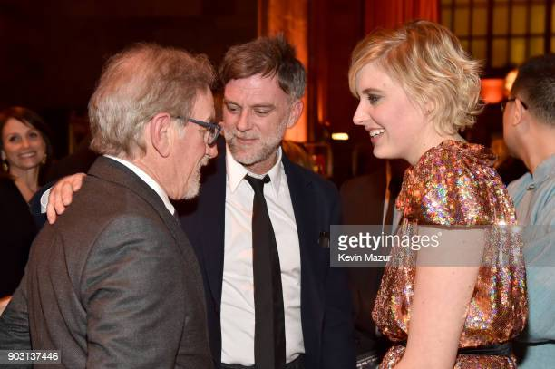 Steven Spielberg Paul Thomas Anderson and Greta Gerwig attend the National Board of Review Annual Awards Gala at Cipriani 42nd Street on January 9...